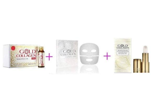 Комплект GOLD COLLAGEN FORTE + HYDROGEL MASK + ANTI AGEING LIP VOLUMISER